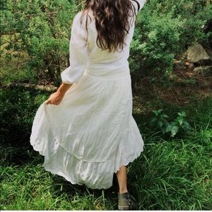 Free people high low ivory skirt